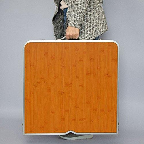 AMANKA klappbarer stabiler Campingtisch 110x70x70cm inkl. 4 Metall-Falt-Hocker Campingtisch Set höhenverstellbar Bambus Holz Optik