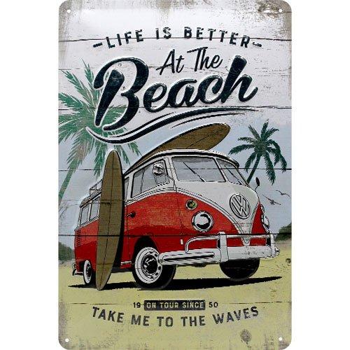 Nostalgic-Art 22277 VW Bulli - Beach  | Retro Blechschild | Vintage-Schild | Wand-Dekoration | Metall | 20x30 cm