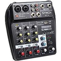 SYNCO MC4 Mezclador-Audio-Mixer-USB-Bluetooth 4 Canales Mono Stereo Entrada Efectos de Reverberación para Sintonización de Escenario, KTV Doméstico, Música de Estudio, Grabación de Sonido, etc.