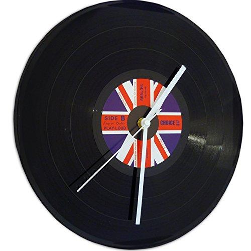1 x Wanduhr Schallplatte aus Kunststoff ,Durchmesser ca. 30 cm,First Choice oder ennlische Flagge (Label Vintage Union)