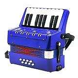 MagiDeal Accordéon Piano 17 Touches 8 Basse Bleu Jouet Musical pour Enfants