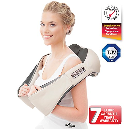 Nackenmassagegerät DAS ORIGINAL Donnerberg® | Shiatsu Elektrisches Massagegerät für Nacken, Rücken und Schultern | TÜV Zertifikat | 7 Jahre Garantie | für Zuhause, Büro und Auto mit Autoadapter