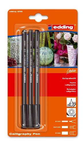 edding 4-1255-3-1001 Kalligrafie-Stift, Blisterkarte, 3 Stück, schwarz