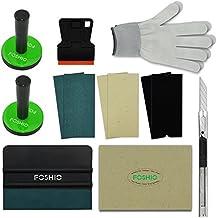 FOSHIO kit de aplicación de envoltura de coche incluyen 4 pulgadas de rasqueta de la película, la lana squeegee, cortadores de vinilo, Tint Magnet titulares, 3 tipos de Squeegee Felts, guantes