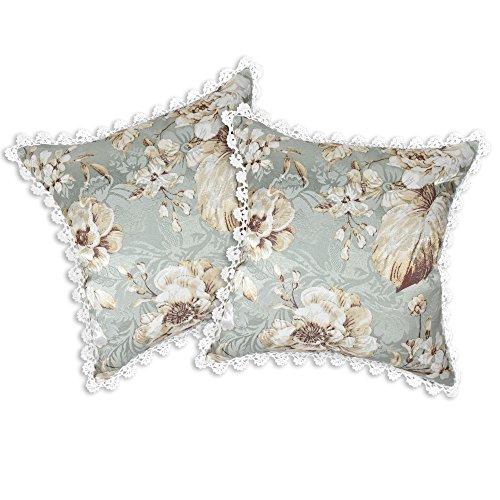 AeraVida Shabby Chic Crochet Trim Tropical Floral Jacquard Überwurf Kissen Fall Paar 17.5 in x 17.5 in Weiß/Blumen -
