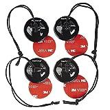 Mantona Sicherungshalter Set (4 Halter 8 Pads, für GoPro Hero 6 5 4 3+ 3 2 1 Universal für viele Aktionkameras Klebe Halter für KFZ PKW Auto Boot Motorrad Windschutzscheibe Karroserie) schwarz