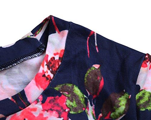Walant Damen Gedruckt Mode Shirts Tops Bluse Lose Kurzarm T-Shirt Sommer Dunkelblau