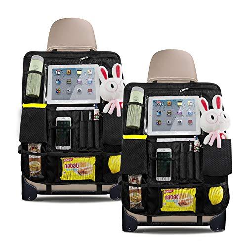 QUEES Auto Rückenlehnenschutz, Auto Rücksitz Organizer für Kinder, Kick-Matten-Schutz für Autositz und Wasserdicht Autositzschoner mit Multitaschen und iPad Halter 2 Packs