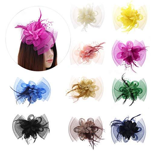 Cuigu Frauen Schleier Haarspange, Braut Feder Haarspange, Große Mesh Bowknot Haar Dekor Floral Perlen Haarnadel Headwear Für Cocktail Hochzeit Party