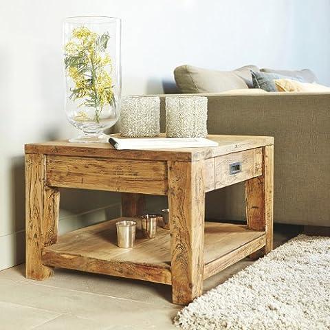 Table basse carrée en bois de TECK RECYCLE 60 cm / Bout de canapé