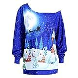 SUCES Frauen Weihnachten Print Sweatshirt Pullover Top Party Plus Size Bluse Shirt Damen Kleidung Frauen Langarmshirt Tuniken Oberteile Pullover Casual Mode Hemd Drucken Top Party (Blue, XL)