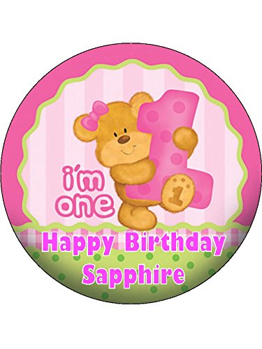 "Price comparison product image 7.5"" Girl's Happy 1st Birthday Bear Personalised PREMIUM RICE PAPER Edible Cake Topper"