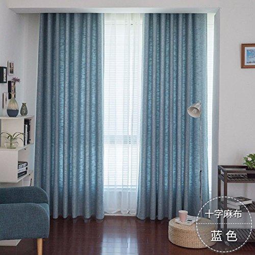 Tende la canapa piena ombra di cotone tessuto tende la cortina salotto camera balcone colore puro ispessimento,h,150 x 270 cm (w x h) x 2,