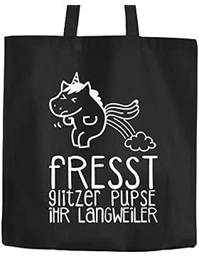 Baumwolltasche Einhorn Unicorn Fresst Glitzer Pupse ihr Langweiler Jutebeutel Stoffbeutel Tragetasche Moonworks...