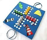 dekoundmeer Brettspiel maritim 2-4 Spieler Holz Blau 2 Würfel lustige Figuren