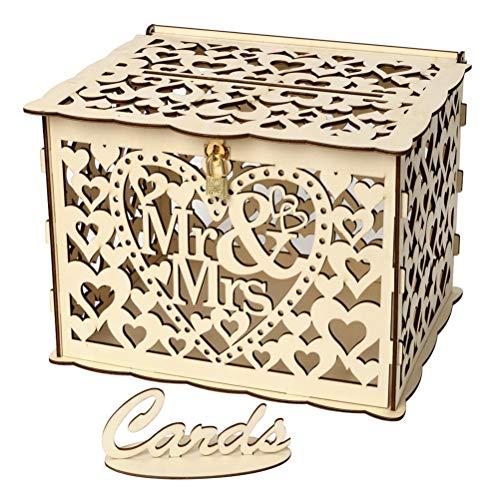 Amosfun Geschenkkarten Box MR MRS Hochzeit Briefbox Holzbox Spardose Kartenbox mit Verschluss für Baby Taufe Geburtstag Party Dekoration DIY (Karte Box Diy Hochzeit)