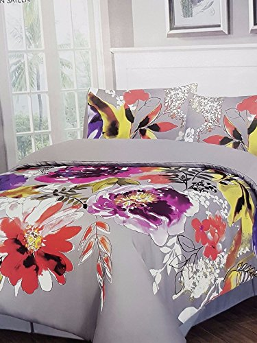 royyaltex 100% ägyptische Baumwolle Satin Wende Bettbezug, bedruckt Set 400TC, Flowers Paradiso, Pair Of Pillow Cases only (50 x 75 cm) Approx