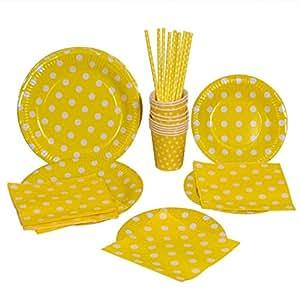 Kraftz®, set da 50pezzi con piatti di carta da 22,9cm e da 19,5cm, cannucce, tovaglioli, bicchieri di carta; articoli monouso a pois per compleanni e feste (colore giallo)