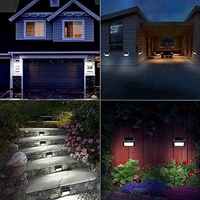 Nateer Solarleuchte Garten, Solar Wandleuchten mit Lichtsensor, 3 LED Wasserdichte Kabellose Edelstahl Solarlampe für Aussen, Treppe, Zaun, Dachrinnen, Balkon, Terrasse