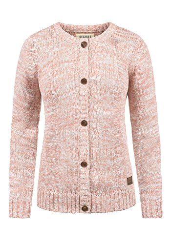 DESIRES Phibie Damen Lange Strickjacke Cardigan Grobstrick Winter Longstrickjacke mit Knopfleiste, Größe:M, Farbe:Powder Rose (5178)