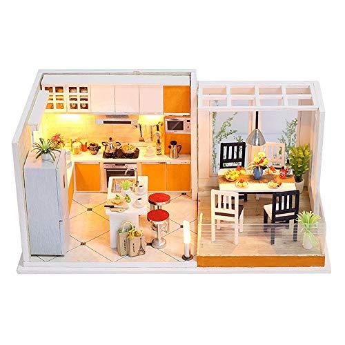 DingLong Gemütliche Küche und Esszimmer DIY Miniaturhaus der Haus-LED des Hauses DIY verzieren kreative Geschenke Puppenhaus Haus Der Küche