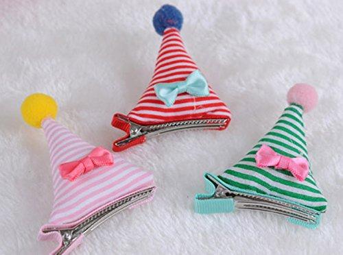cuhair (TM) Lot de 6 Magic Bonnet de Noël avec balle en laine fille Barrettes Clip Broches Pince à cheveux accessoires couleur mixte