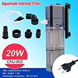 KinshopS CHJ-902 Aquarium Innenfilter 20W 900L/H mit Aquarien Filterschwamm, Aquariumpumpe Filterpumpe AC 220-240V / 50Hz