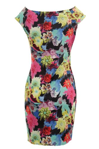 Saphir Femmes Multicolore Sans Manche Extensible Moulant Imprimé Floral Dames Court Robe Noir Floral