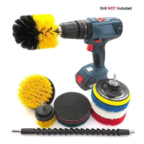 JIUY Neumáticos Taladro eléctrico 11pcs Cepillo de Limpieza Kit de plástico Cepillo...