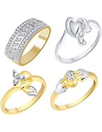 VK Jewels Gold And Rhodium Plated Alloy Ring Combo Set For Women & Girls Made With Cubic Zirconia - COMBO1562G...