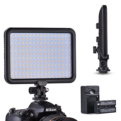 Tycka 204 LED Luz de Video Studio Iluminación, 3200K - 5600K temperatura de color, regulable continuo de 1300lm, Ultra Fino y ligero, Fotografía de niños, para cámara videocámara DSLR Canon Nikon Sony