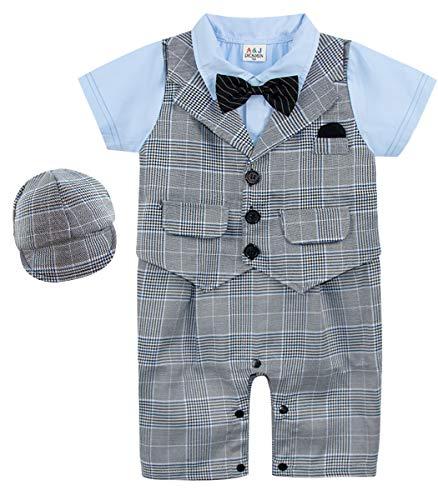 A&J DESIGN Neugeborene Gentleman Overall Party Outfits Einstellen mit Fliege und Hut (Grey1 + Hut, 3-6 Monate)