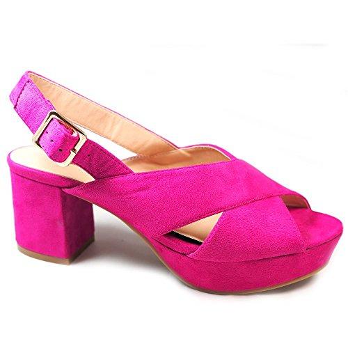 La Valenciana Sandalia con Pequeño Tacon y Plataforma Para Mujer Buonarotti  1A-18176 Color Rosa d5931f32631a