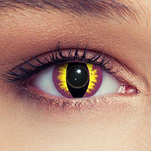 Lilane Katzenaugen Kontaktlinsen für Karneval oder Halloween Kostüm Farblinsen in violett Design: Purplestar Cateye + gratis Kontaktlinsenbehälter (innerhalb Dt.)