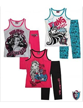 Monster High Mädchen Sommer 2-Teiler Schlafanzug Shorty Hose lang 3 Varianten