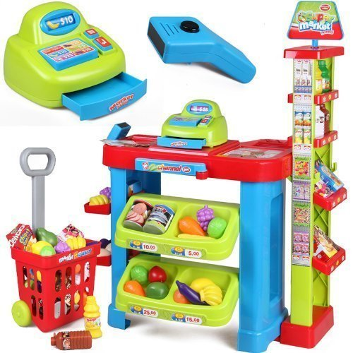 Smartcraft Super Market Store, Battery Operated Super Market Set with Basket - Green