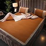 AMYDREAMSTORE Sommer Schlafen Pad Matratze Topper Ice seide Bett Falten Doppelseitige Mast doppelte Rattan Kühlung Schlafsaal Strohmatte-A 200x220cm(79x87inch)