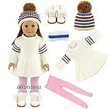 Miunana Sets Kleidung Pullover Warm Kleid Mütze Stiefel Schuhe Leggings für 44-45 cm Puppen 18...