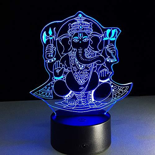 orangeww 3d Visuelle Illusion Lampe / 7 Farbwechsel Fernbedienung Touch/baby Kinder Schlafzimmer Dekoration/geburtstag Weihnachtsgeschenk/Indien Lord Elephant