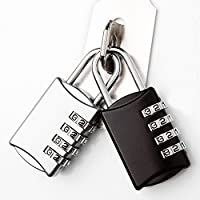 WisPox 2 Pack Combination Lock 4 Digit Resettable Combination Padlock for School Gym Locker, Filing Cabinets, Luggage Suitcase Baggage Locks, Toolbox, Case (Silver and Black)