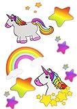 16 Einhorn Tattoo´s | Einmaltattoo | Unicorn | Stern | Regenbogen | 16 Einzeltattoos | Mitgebsel Mädchenparty