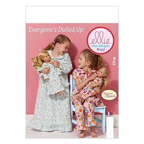 McCall Pattern Company K0157 Kwik Sew - Cartamodelli per vestiti da bambine e bambole, taglie XXS 3, extra small 4/5/ small 6/ medium 7/8/ large 10, confezione da 1, colore