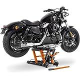 Cric Lève Moto pour Harley Davidson Road King (FLHR/I) Hydraulique á Ciseau ConStands Midlift L noir-orange
