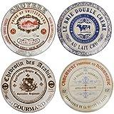 Creative Tops Gourmet Cheese Lot de 4assiettes à fromage en porcelaine dans boîte à chapeau
