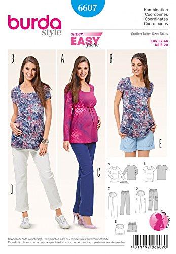 Burda 6607 Schnittmuster Umstands-Kombination Hose Bermudas Shirt (Damen, Gr. 32-46) -