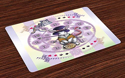 Soefipok Tierische Tischsets, Alice im Wunderland-Kaninchen und Katzenfiktion-Story-Roman-Kind-Display-Story, waschbare Stoff-Tischsets für Esszimmer-Küchentisch-Dekor