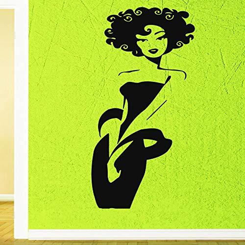 r Vinyl Aufkleber Afro Girl Schöne Schwarze Küken Salon Spa Abnehmbare PVC Wandaufkleber Mur Coffee Farbe 34 X 89 cm ()