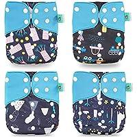 Wenosda 4PCS Pañales de tela para bebés Pañales de bolsillo Pañales reutilizables lavables Inserte el pañal de bolsillo todo en uno para la mayoría de los bebés y niños(4Pcs)