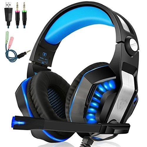 IMMOSO Gaming Headset PS4 Xbox One PC Stereo Gaming Kopfhörer mit Mikrofon LED Licht Bass Lautstärkeregelung für PS4 Xbox One PC Smartphone …