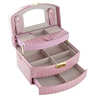 Feibrand Faux Leather Mirrored Jewellery Box Pink (Pink)